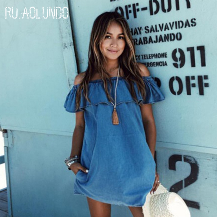 New Arrival 2017 Womens Summer Casual Off the Shoulder Denim Dress Ladies Sexy Elegant Party Dresses Plus Size