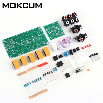 Kit de módulo Selector de señal de entrada de Audio DIY 4 en 1, relé de salida, tablero de conmutación de Audio, módulo de control y selección de amplificador de señal