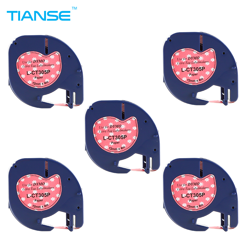 TIANSE Dymo Label Printer 5pcs special for Letratag paper tape colorful pink 12mm 91200 series label dymo LT printer