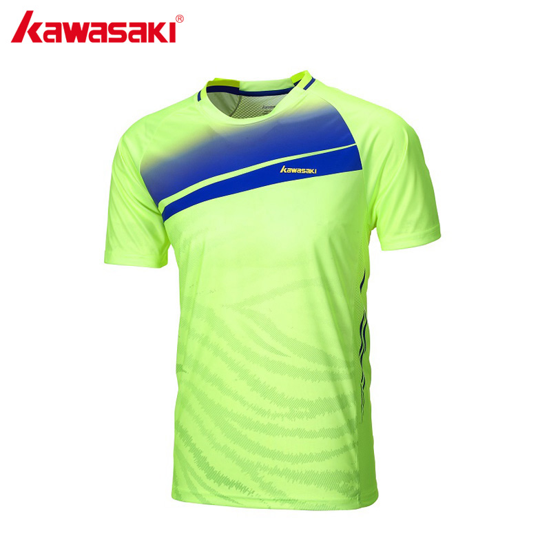 KAWASAKI Polyester Badminton T-Shirts Short Sleeved T Shirt Tennis Training Clothes Sportswear For Men ST-171024