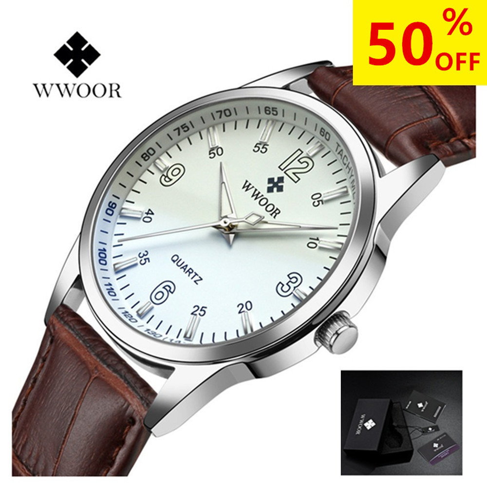 WWOOR Blue Glass Watch Men Casual Leather Watch Analog Sport wristwatch quartz-watch relogio masculino Luxury Wrist Watches sunward relogio masculino saat clock women men retro design leather band analog alloy quartz wrist watches horloge2017