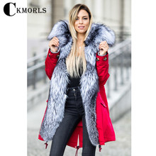 CKMORLS New Real Fur Parkas With Silver Fox Collar Red Coat For Women Winter Jacket Plus Size Long Outwear Thick Warm