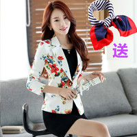 Women Floral Blazer Jacket 2017 New Casual Female Suit Ladies One Button Slim Suit Coat Jacket