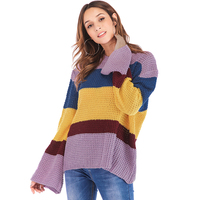 Autumn Winter Women Oversized Striped Knitted Sweater Contrast Color Long Bell Sleeves Loose Knitwear Casual Baggy Pullover Tops