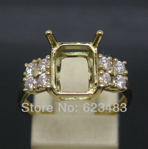 Emerald Cut 7x9mm Solid 14Kt Yellow Gold Natural Diamond Semi Mount Ring  Emerald Cut 7x9mm Solid 14Kt Yellow Gold Natural Diamond Semi Mount Ring