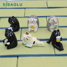 Black Cat Bear Hedgehog Miniature figurine Japan Zakka Resin Toy wedding decoration fairy garden statue Home  Decole