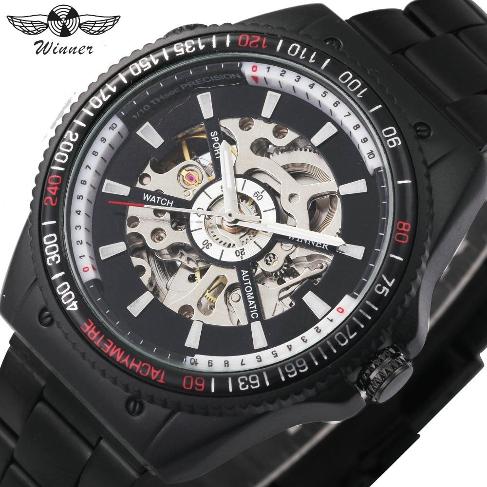 2018 WINNER Mens Automatic Mechanical Watch Black Stainless Steel Strap Skeleton Dial Top Luxury Brand Design Wristwatch +Box