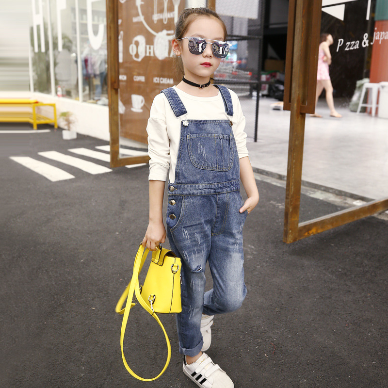 Ripped Jeans Denim Jumpsuit Teenager Denim Overalls 2018 New Fashion Loose Denim Pant 5 6 7 8 9 10 11 12 13 Year Toddler Clothes trendy ripped fringe lace spliced denim shorts
