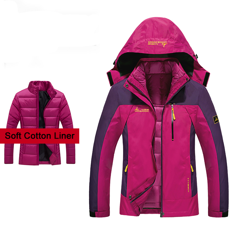 Winter 2 Pieces Women's Jackets Outdoor Sport Waterproof Cotton padded Coats Warm Hiking Camping Hiking Plus Size Female Jacket|Hiking Jackets| |  - title=
