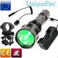 Uniquefire HS-802 CREE LED Flashlight Long Range Green Laser Flashlight For Hunting+Gun Mount+ Charge+Rat Tail Shoting Torch