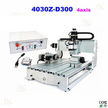 CNC machine 4030Z-D300 4axis cnc woodworking table cnc router engraver machine with USB parallel port adapter