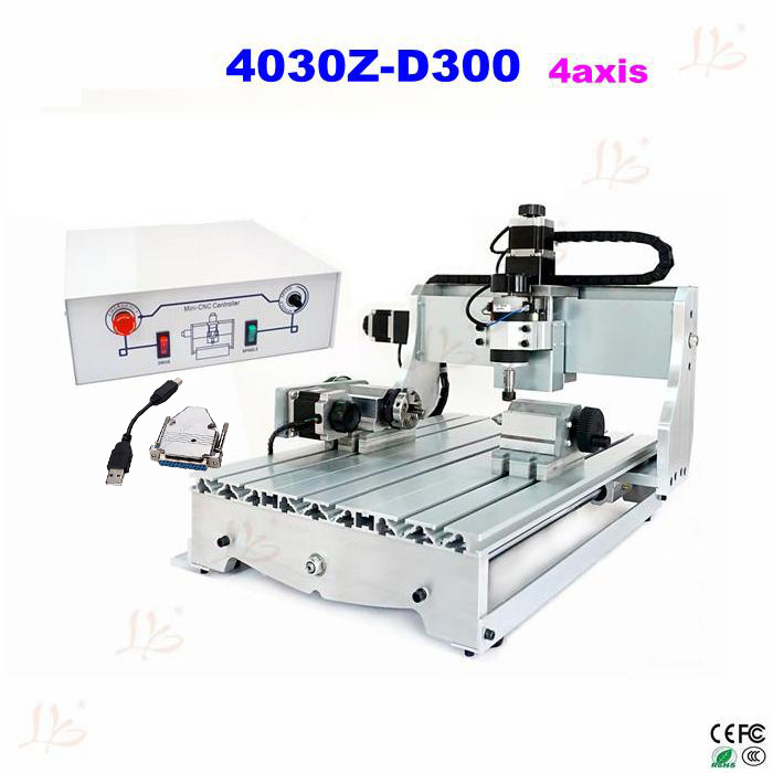 CNC machine 4030Z-D300 4axis cnc woodworking table cnc router engraver machine with USB parallel port adapter cnc 2030 cnc wood router engraver 4 axis mini cnc milling machine with parallel port