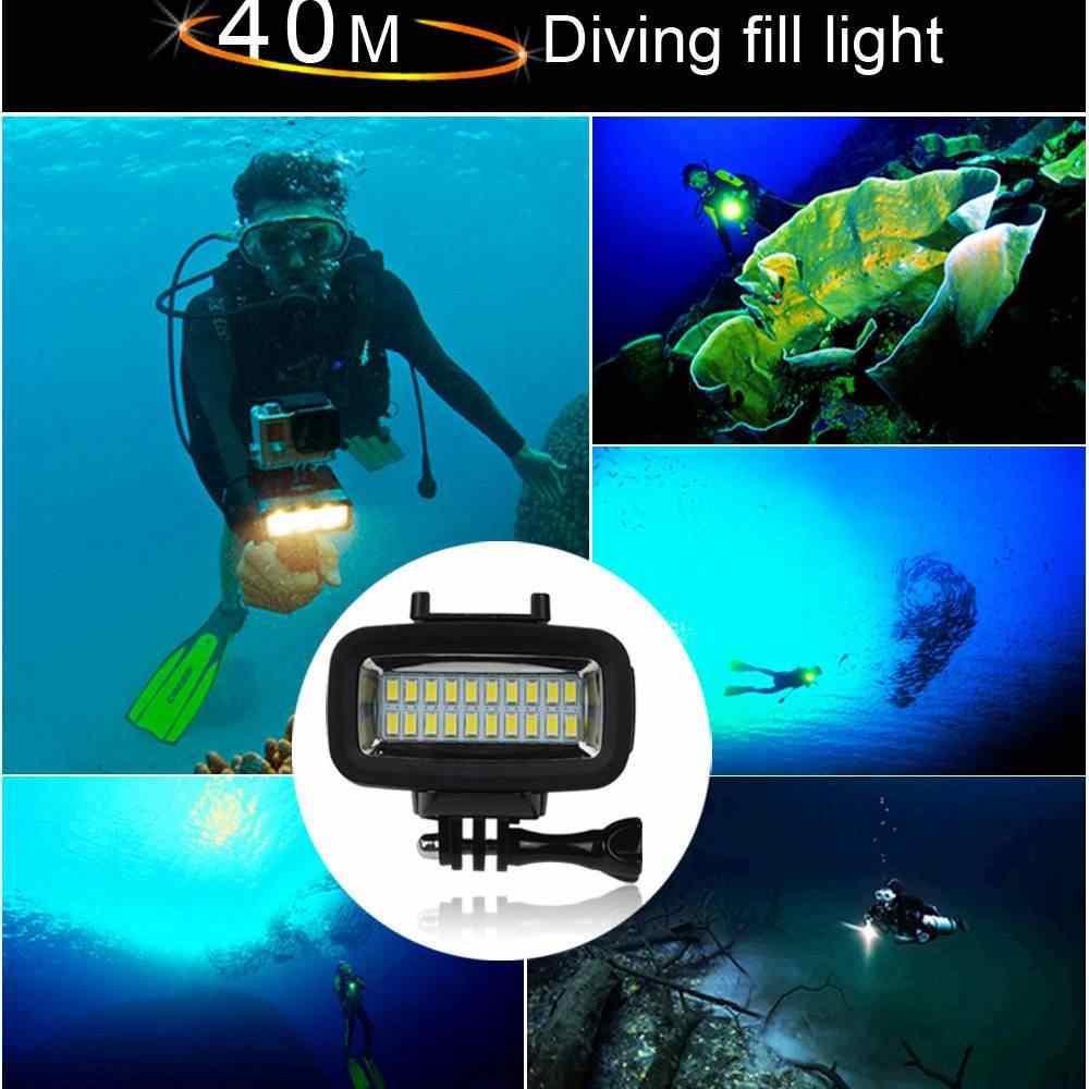 Orsda Gopro אביזרי LED 40m מתחת למים עמיד למים מנורת gopro אור led וידאו פלאש למלא אור עבור SJCAM Xiaomi 700LM SL-100