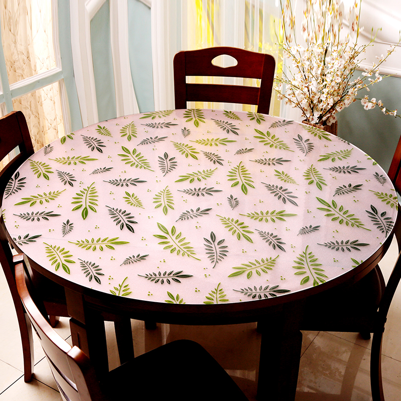 Custom made Pvc round tablecloth Colored leaves Soft glass PVC Round table mat waterproof oil proof Anti hot dining table mat in Tablecloths from Home Garden