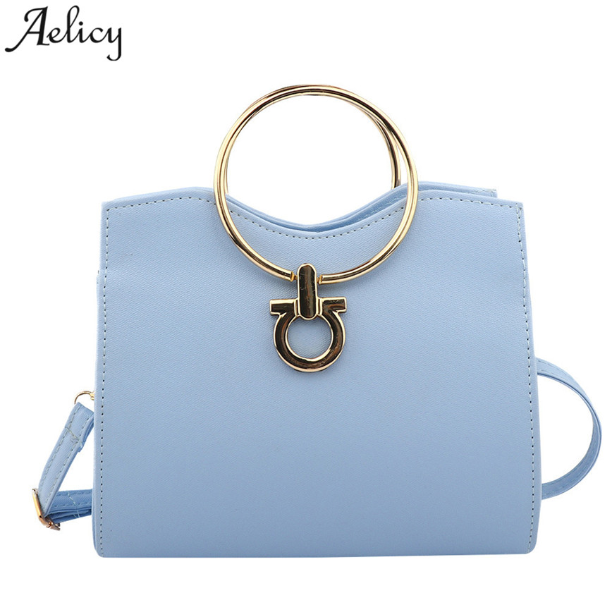 Aelicy New Fashion Small Handbags women Metal Ring Handle Solid PU Leather Shoulder Bag Lady High Quality Messager Bag S30 new fashion women message bags with small purse metal ring handle leather handbag ladies girls trendy shoulder bag balestra