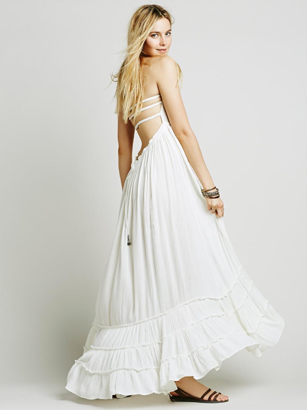8fd3adcca08 Acheter Femmes Backless Beach Dress Bohème Casual Maxi Dress Été ...