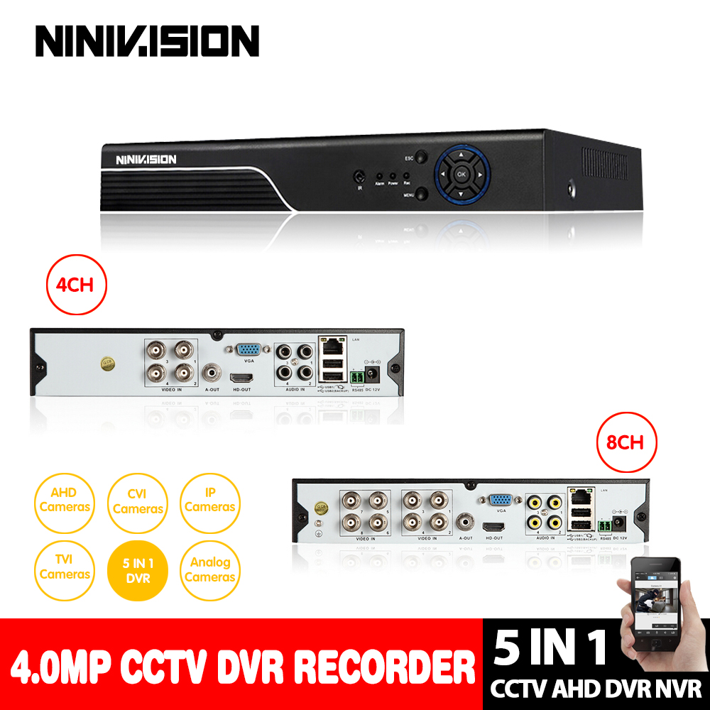 NINIVSION Home 4MP HD 4CH 8CH AHD DVR TVI CVI IP 5 in 1 CCTV 4 Channel 4.0MP HDMI Video Recorder AHD/TVI/CVI/CVBS/IP 5 IN 1 DVRNINIVSION Home 4MP HD 4CH 8CH AHD DVR TVI CVI IP 5 in 1 CCTV 4 Channel 4.0MP HDMI Video Recorder AHD/TVI/CVI/CVBS/IP 5 IN 1 DVR
