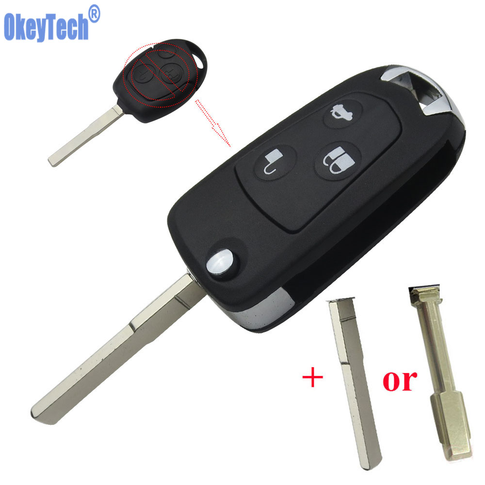 OkeyTech 3 Buttons Car Remote Flip Key Shell Case For Ford Focus Suit Mondeo Festiva Fusion KA Auto Uncut Blade Replacement Fob