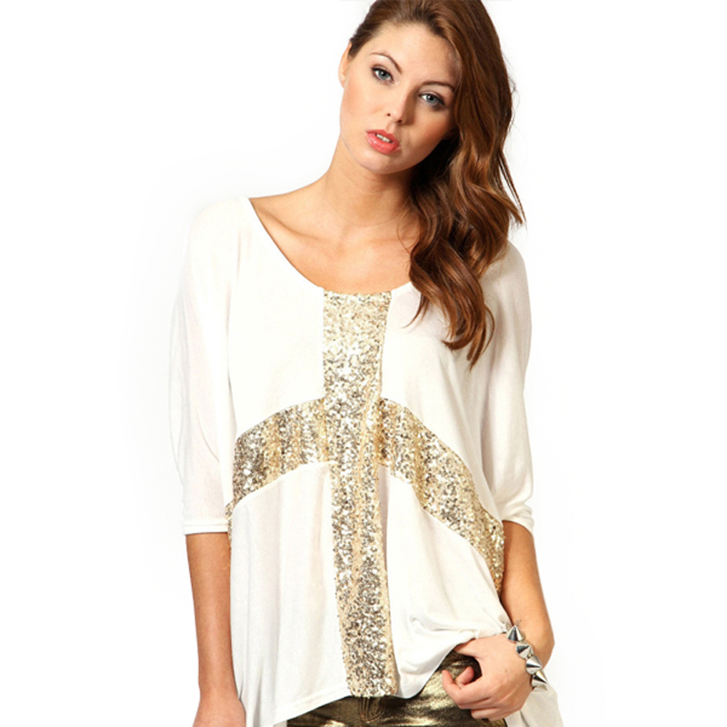 35ea1345e006c 2015 Women Plus Size Tops Cross Print Gold T Shirt Stretch Casual Sequins  Decor O-Neck Half Batwing Sleeve Tank Loose TeesF01