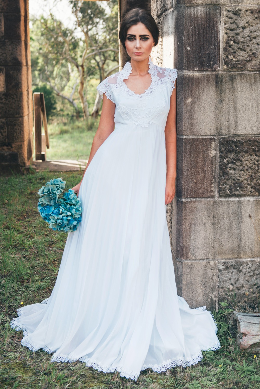 Sample Appliques Chiffon And Satin Beach Wedding Dress Sheer Zipper ...