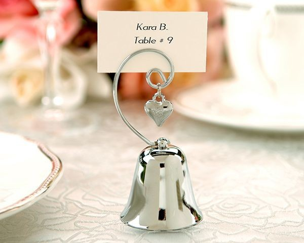 100pieces lot Charming Chrome Bell Place Card Photo Holder with Dangling Heart Charm Wedding Suppliers Free