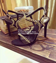 New Summer WomenS High Heel Black Sandals Cross-Over Designer Women Sexy Chain Gladiator Size 34-40