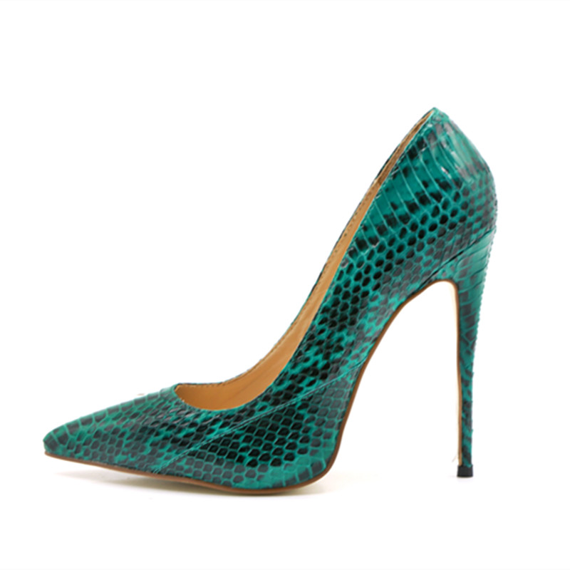 Green high heels shoes 2018 new python pattern women shoes pumps sexy stiletto heels club party wedding shoes big size 43Green high heels shoes 2018 new python pattern women shoes pumps sexy stiletto heels club party wedding shoes big size 43
