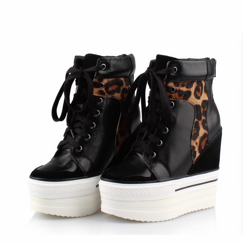 Leopard Genuine Leather Women Shoes Woman High Heels Platform Wedge Ladies Casual Shoes Zapatillas Zapatos Mujer Tenis Feminino