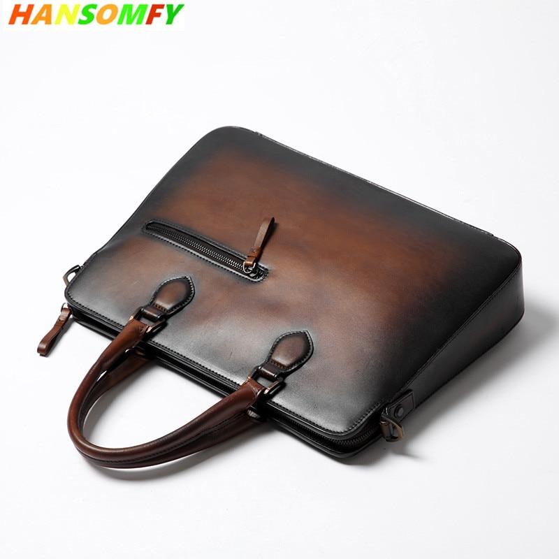Натуральная кожа рук матовый Для мужчин Сумки Роскошные модные сумки ретро плеча коричневый сумка Повседневная Деловая Для мужчин Портфел