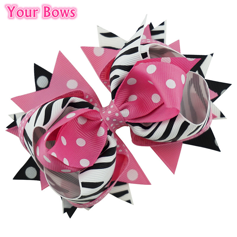 5 Inches Zebra Stripes Hair Bows Girls Hair Clip Cute Hairpins Flower Headband For Girl Hair Accessories Bowknot