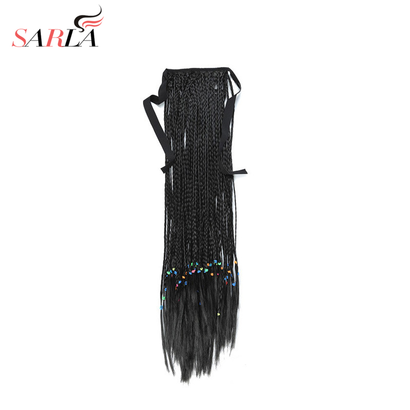 SARLA 65cm 100g Black Long Straight Ponytail Extensions For Women Synthetic Ponytail Ribbon hair hairpiece Heat Friendly Fiber