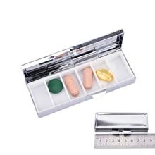 1PCS Hot Sale Rectangle Pill Boxes Metal Container 6 Grids Mini Portable Travel Case Wholesale