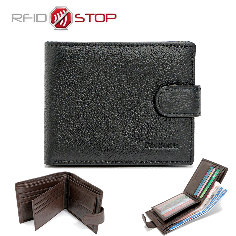 FONMOR Brand RFID Wallet Genuine Leather Men Wallets with Coin Pocket RFID Protection Man Purses Travel
