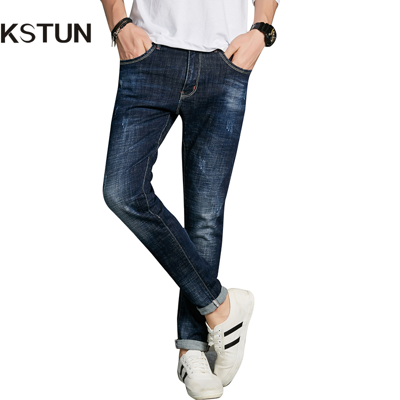 KSTUN Autumn Fashion Jeans Men Quality High Waist Dark Blue Elastic Tapered Slim Fit Pencils Long Trousers for Yong Mens Joggers велосипед altair city high 28 19 2015 dark blue
