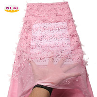 2017 African Cord Lace High Quality French Lace Fabric Baby Pink African Lace Fabric For Nigerian