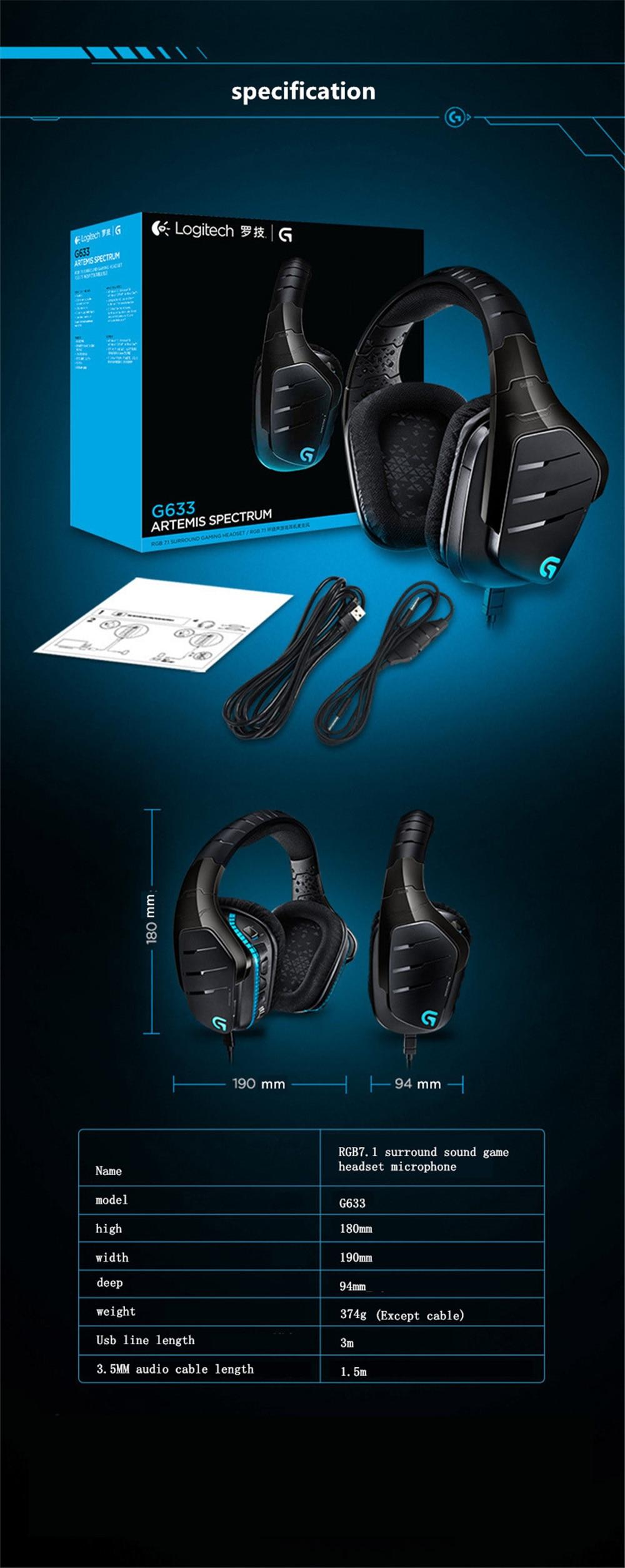 Original Logitech G633 Artemis Spectrum RGB 7 1 Surround Sound Gaming  Multiple Platform Compatibility Exceptional Audio Headset