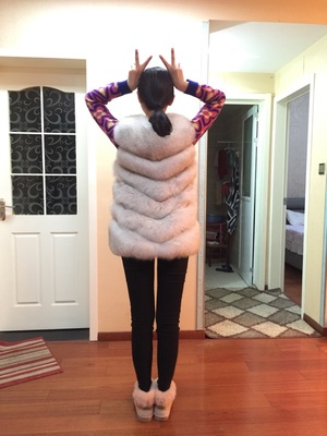 Ardoisé Fourrure kaki Vest2016 Femelle Fox Peau Importé Zhongchang De Renard Gilet Oblique Tout Nouveau marron Laine rouge noir gris Manteau Mince Réel aqxTAdAw