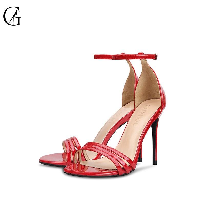 Goxeou marque femmes chaussures sandales talon fin chaussures Sexy 2018 nouveau design star produit été fête à la main livraison gratuite taille 42