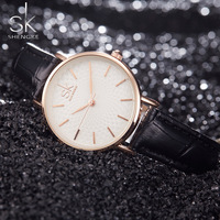 SK Women Fashion Wrist Watches Black Leather Watchband Top Luxury Brand Female Simple Bracelet Clock Ladies