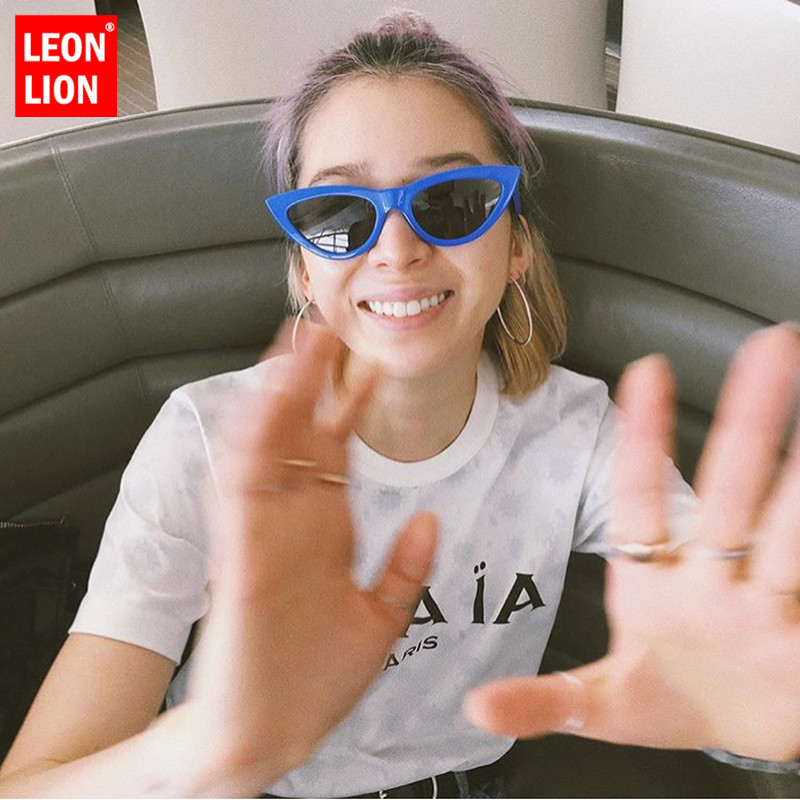 LeonLion Vintage Cat Eye Sunglasss Women Candy Color Small Frame Sun Glasses Metal Hinge Oculos Wild Trend Street Shooting