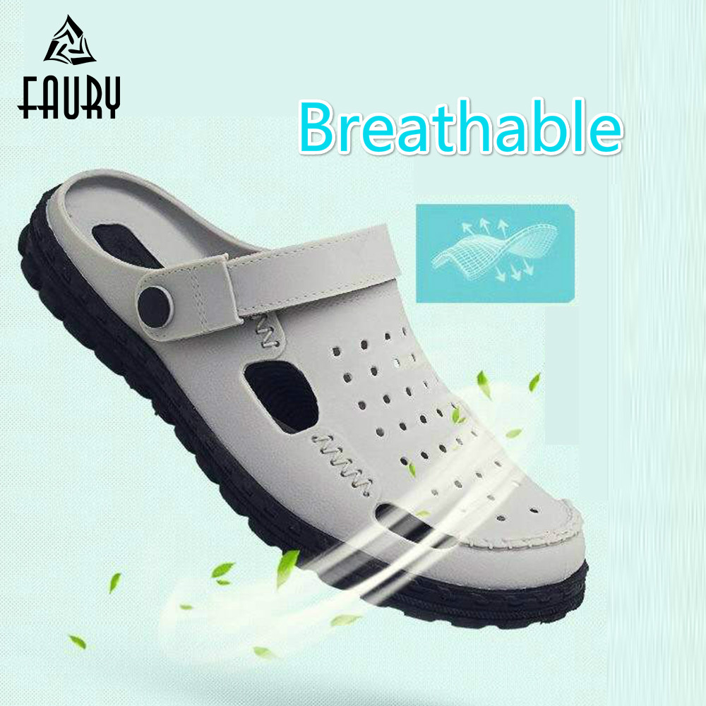 2019 New Medical Doctor Shoes Men's Hole Sandals And Slippers Surgical  Lab  Scrub Waterproof Non-slip Breathable Summer Work