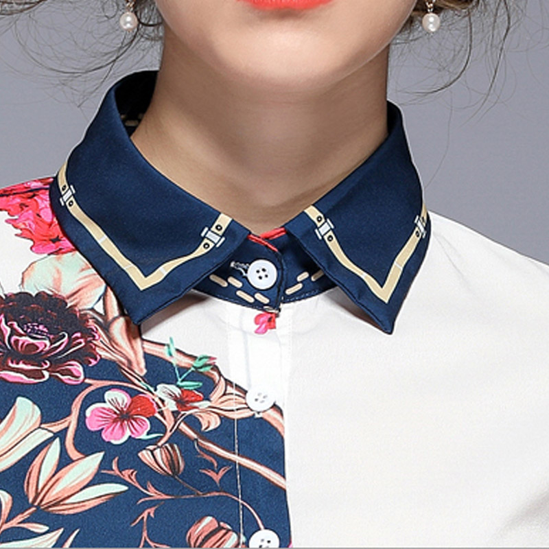 Women Casual Blouses 2019 Summer Womens Tops and Blouses Office Lady Print Shir Contrast Shirt in Blouses amp Shirts from Women 39 s Clothing