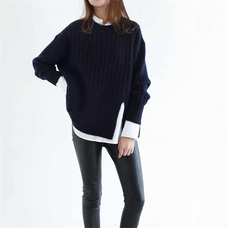 TAILOR SHEEP Autumn winter new o-neck cashmere sweater women thickening slit sweater loose lazy knitted pullover
