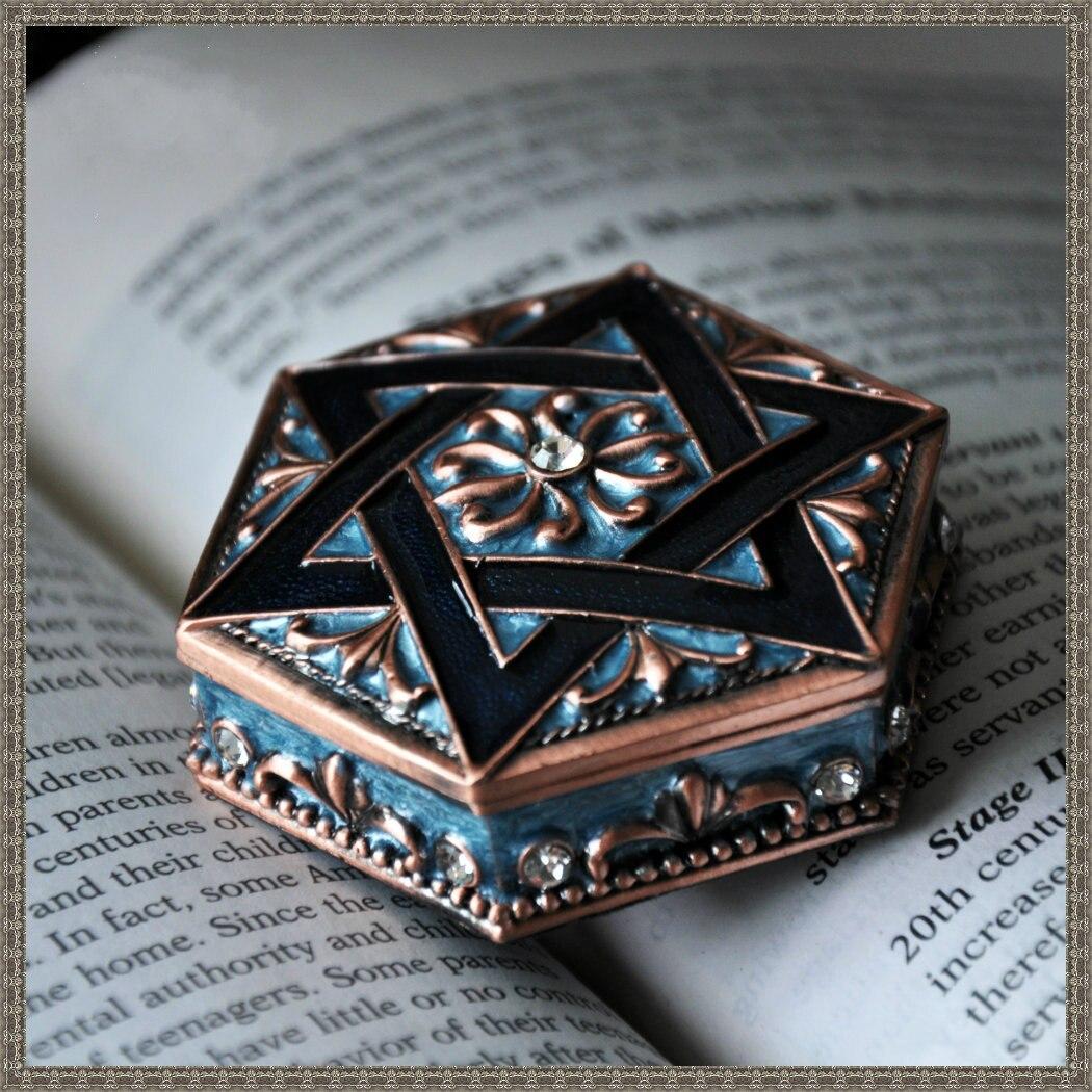 Retro European Style Princess Jewelry Box Six Star High-end Jewelry Box Metal Quality Hexagonal Dressing Box Anniversary Gift