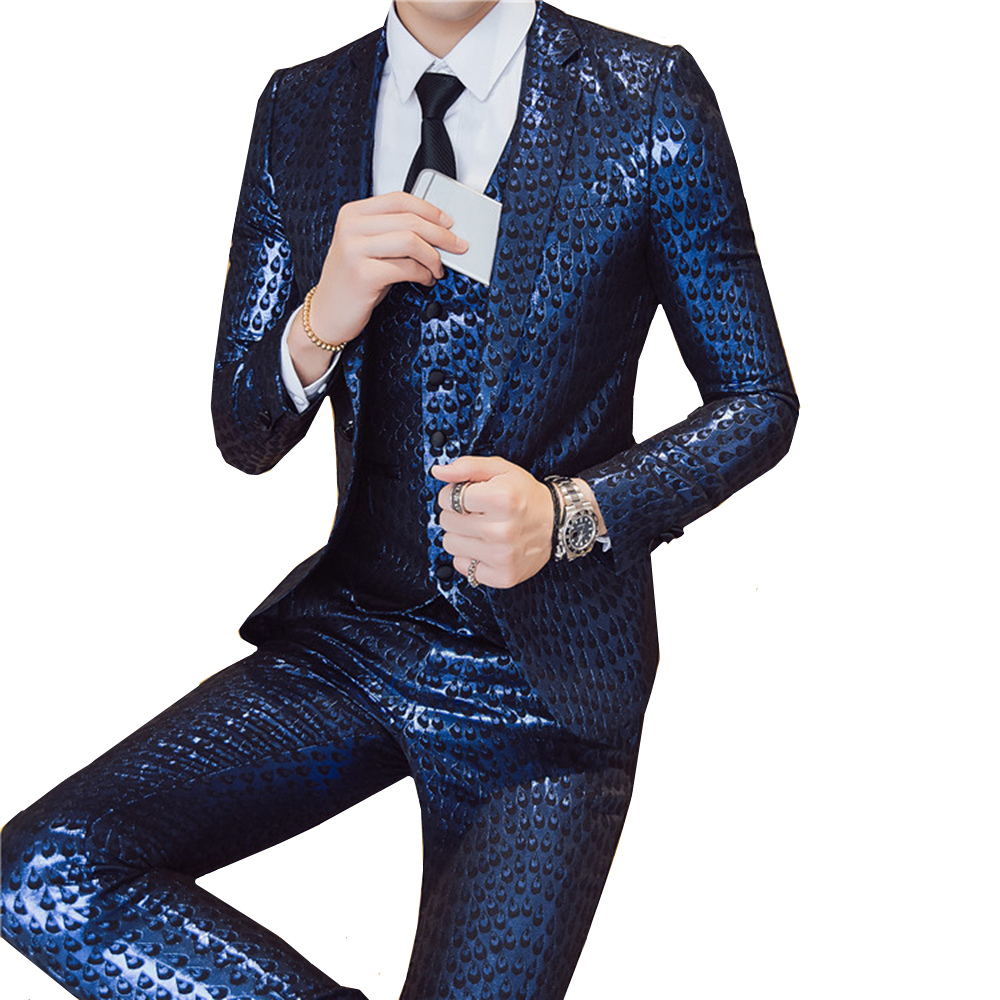 2019 Mens Party Suits Gold Blazers Slim Fit Night Club Outfits DJ Stage Costume Shiny Suits Men Royal Blue Dress 3 Piece Set