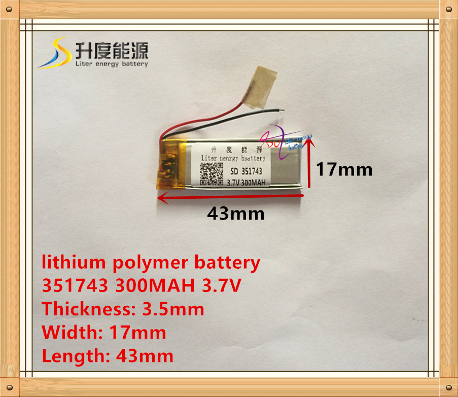 3.7 V lithium polymer baterai 351743 300 MAH titik membaca pena perekam  kecil mainan wireless headphone d7737d6be9