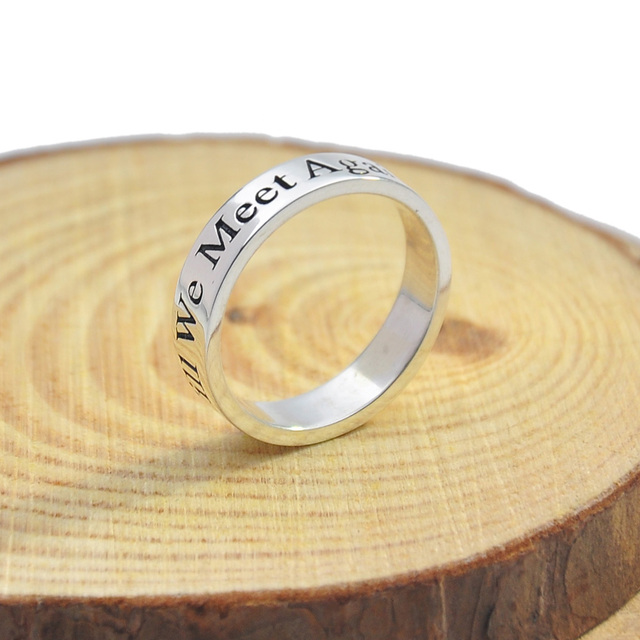 Initial Ring Personalized 925 Solid Silver 3mm Band Engraved Words Inside Outside Engraving Letters Name