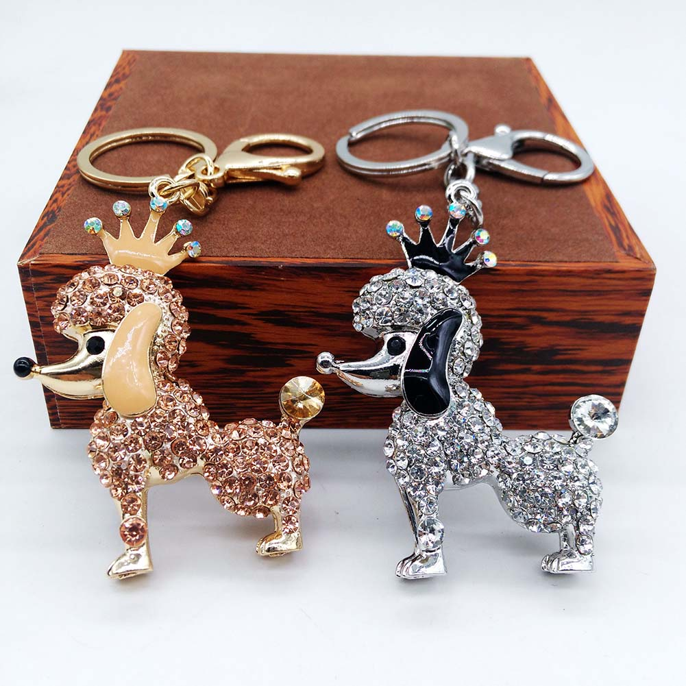 Poodle Dog Rhinestone Crystal Key Ring Key Chain Bag Buckle Pendant Car Keyring
