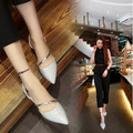 2016 new European and American fashion Women shoes hollow pointed flat sequined Women shoes Women flats size 40