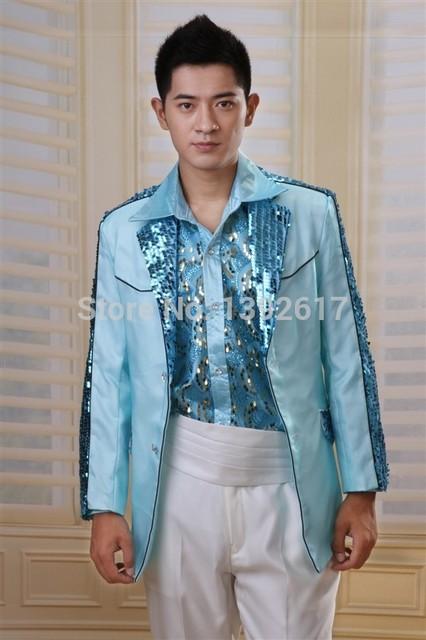 af4445b28ef8 mens sequins beading bling sky blue tuxedo jacket event/stage performance  jacket